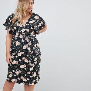 Boohoo Plus Floral Wrap Dress